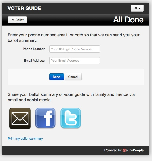 Print, email, tweet, or post your ballot on Facebook