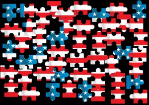 Unassembled American flag puzzle pieces